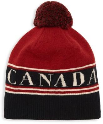 Canada Goose Logo Wool Pom Beanie