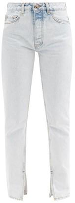 Ganni Acid-wash Slit-cuff Straight-leg Jeans - Light Denim
