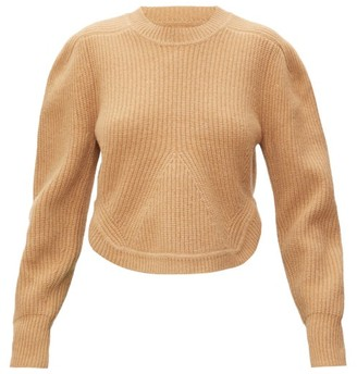 Isabel Marant Julian Curved-hem Cashmere And Wool Sweater - Womens - Camel