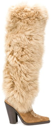 DSQUARED2 Faux-Fur Pointed Boots