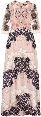 Biyan Embellished Printed Silk-blend Twill Maxi Dress