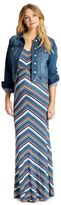Jessica Simpson Distressed Fabric Plain Weave Denim Maternity Jacket