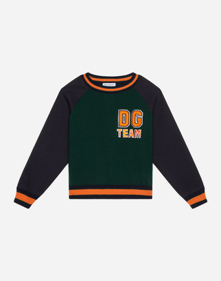 Dolce & Gabbana Wool And Jersey Round-Neck Pullover With Patch