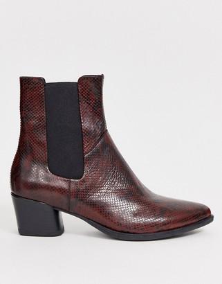 Vagabond Lara oxblood snake print mid heeled ankle boots