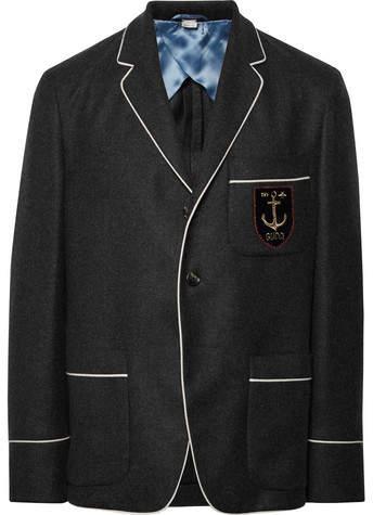 Gucci Dark-Grey Slim-Fit Embroidered Cashmere Blazer