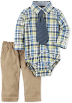 Carter's 3-Pc. Tie, Plaid Shirt Bodysuit & Twill Pants Set, Baby Boys (0-24 months)