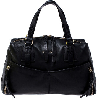 Cole Haan Black Leather Front Pocket Satchel