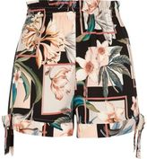River Island Womens Black floral print bow hem shorts
