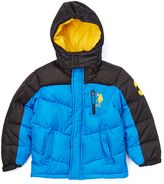 U.S. Polo Assn. Blue Tile & Black Color Block Puffer Coat - Boys
