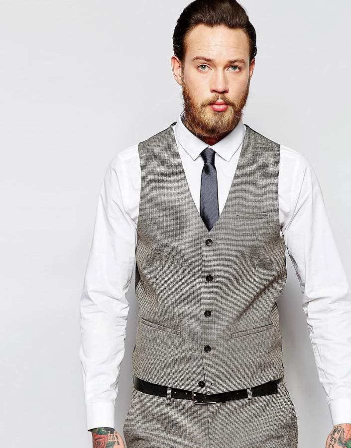Asos Wedding Super Skinny Waistcoat In Brown Dogstooth