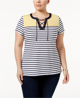 Charter Club Plus Size Striped Lace-Up Top, Created for Macy's