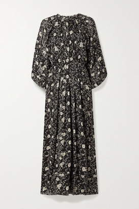 Etoile Isabel Marant Estine Ruffled Floral-print Crepon Maxi Dress - Black