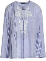 Antik Batik Embroidered Striped Cotton-Voile Tunic