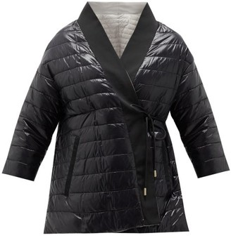 Herno Reversible Wrap-front Down-padded Shell Coat - Womens - Black