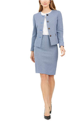 Le Suit Chevron Tweed Skirt Suit