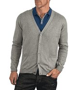 Wool Overs Men's Cashmere & Cotton V Neck Cardigan Extra Extra Large