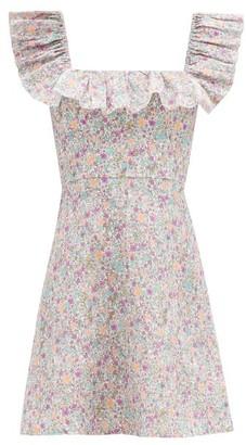 Zimmermann Carnaby Ruffled Floral-print Cotton Mini Dress - White Print