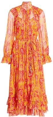 Zimmermann Brightside Frilled Ikat Print Silk Dress