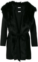 P.A.R.O.S.H. belted coat - women - Fox Fur/Polyester/Wool - M
