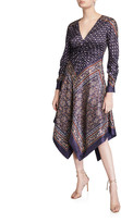 Jonathan Simkhai Scarf-Print Deep-V Handkerchief Dress
