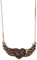 Betsey Johnson Heart Wing Pendant Necklace
