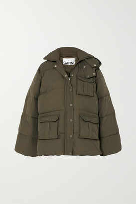Ganni Oversized Hooded Quilted Shell Jacket - Army green