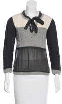 Philosophy di Alberta Ferretti Silk-Trimmed Knit Sweater