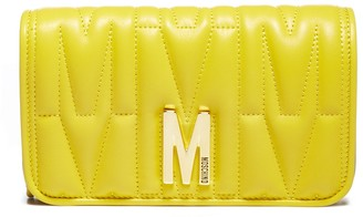 Moschino M Plaque Quilted Clutch Bag