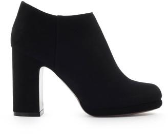 L'Autre Chose Black Suede Heel Ankle Boot