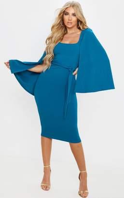 PrettyLittleThing Dusty Lilac Cape Sleeve Tie Waist Midi Dress