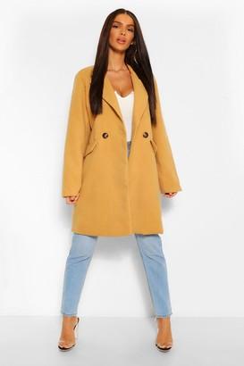 boohoo Tailored Pocket Detail Wool Look Coat