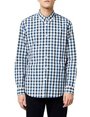 MERAKI Men's Slim Fit Cotton Checked Shirt, Blue (Blue), (Size:M)