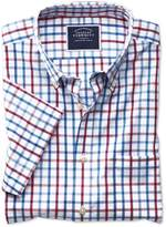 Charles Tyrwhitt Slim Fit Button-Down Non-Iron Poplin Short Sleeve Red Multi Check Cotton Casual Shirt Single Cuff Size Large