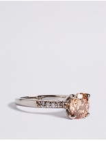 M&S Collection Platinum Plated Sparkle Solitaire Ring