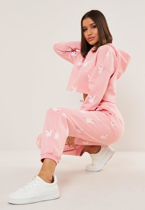 Missguided Playboy X Petite Pink Repeat Print Oversized Joggers