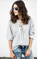 Ily Couture Lace Up Hoodie - Grey