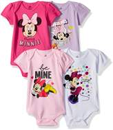 Disney Girls' Minnie Mouse 4-Pack Short Sleeve Bodysuit