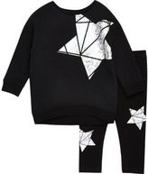 River Island Mini girls black metallic star sweat set