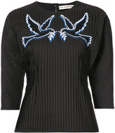 Mary Katrantzou pleated dove motif blouse - women - Cotton/Polyester - 8