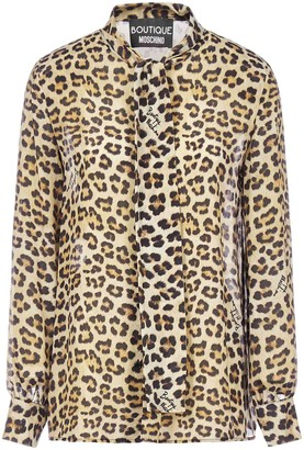 Boutique Moschino Pussybow Leopard Print Blouse