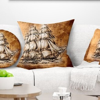 """Seashore Ancient Sailboat Drawing Pillow East Urban Home Size: 16"""" x 16"""", Product Type: Throw Pillow"""