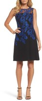 Ellen Tracy Women's Embroidered Crepe Fit & Flare Dress