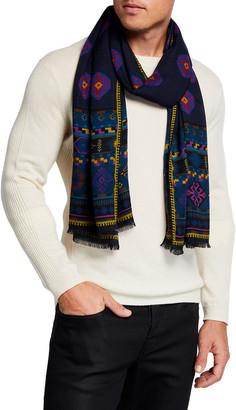 Etro Men's Patterned Wool-Silk Scarf