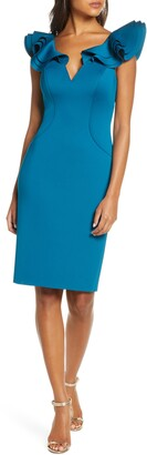 Eliza J Sculpted Ruffle Cap Sleeve Scuba Crepe Dress