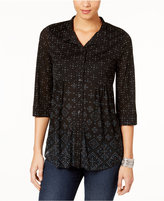 Style&Co. Style & Co Style & Co Petite Mixed-Print Mesh Shirt, Created for Macy's