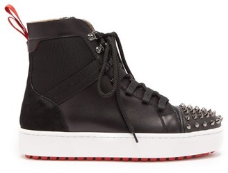 Christian Louboutin Smartic Spike High-top Leather Trainers - Mens - Black