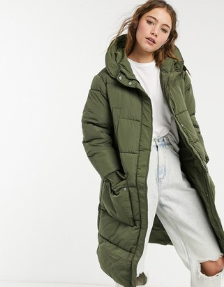 Pieces padded longline coat in khaki