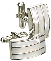 Simon Carter Mother Of Pearl Triple Band Cufflinks