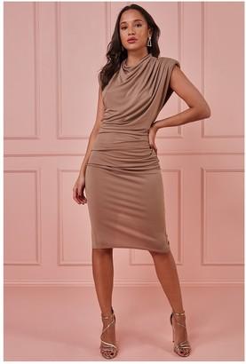 Goddiva High Neck Midi Dress with Shoulder Pads - Beige