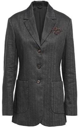 Brunello Cucinelli Embellished Herringbone Cotton-blend Blazer